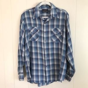 VTG Mens Western Button Up Plaid Shirt Size Large